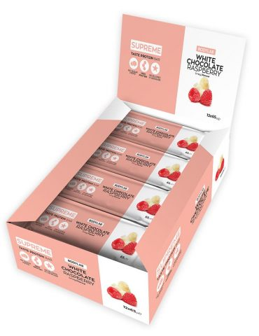 "Proteinbar med ""White Chocolate Raspberry"" -"